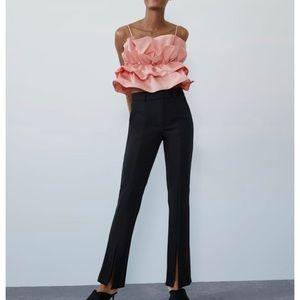 Zara knit front slit pants leggings elastic waist